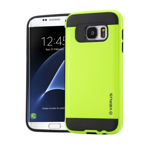 For Galaxy S7 Edge Light Green Verus Brushed Texture PC + TPU Protective Case