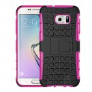 For Galaxy S7 Edge Magenta Tire Texture Combination Case with Separable Black Holder