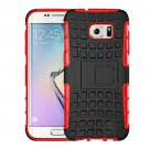 For Galaxy S7 Edge Red Tire Texture Combination Case with Separable Black Holder