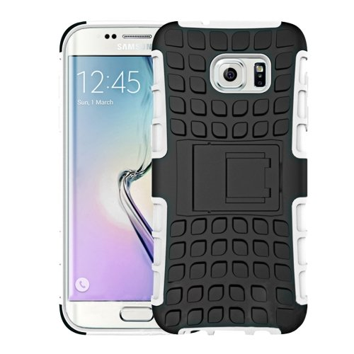 For Galaxy S7 Edge White Tire Texture Combination Case with Separable Black Holder