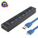 7 Ports USB 3.0 HUB, Super Speed 5Gbps, Plug and Play, Support 1TB