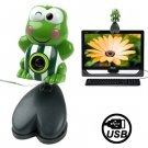 USB 2.0 Cartoon Green Frog Style 0.48 Mega Pixels Driverless PC Camera / Webcam