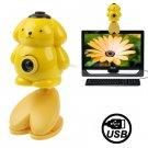 USB 2.0 Cartoon Yellow Bear Style 0.48 Mega Pixels Driverless PC Camera / Webcam