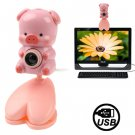 USB 2.0 Cartoon Pink Pig Style 0.48 Mega Pixels Driverless PC Camera / Webcam