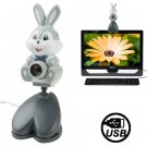 USB 2.0 Cartoon Rabbit Style 0.48 Mega Pixels Driverless PC Camera / Webcam