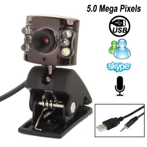 5.0 Mega Pixels PC Camera with Night Light, Microphone + Packing + Switch