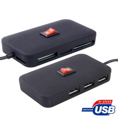 High Speed 3-Port USB 2.0 HUB + SD / Micro SD / MS Card Reader with Switch