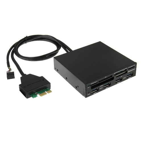 3.5 inch PCI-E to USB 3.0 Metal Internal Combo (4 Ports USB 3.0 HUB + All in 1 Card Reader)