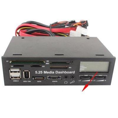 5.25 inch Media PC LCD Dashboard Card Reader w/ Fan Control