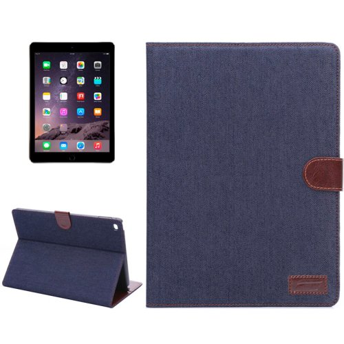 For iPad Air 2 Black Denim Style Leather Case with Holder, Card Slots & Sleep Function