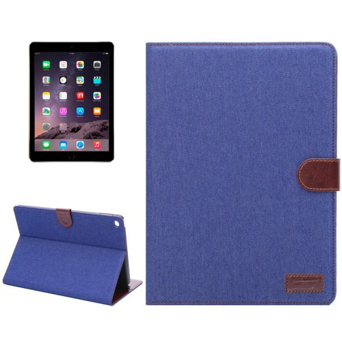 For iPad Air 2 Dark Blue Denim Style Leather Case with Holder, Card Slots & Sleep Function