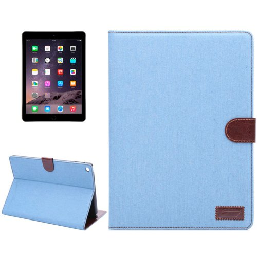 For iPad Air 2 Blue Denim Style Leather Case with Holder, Card Slots & Sleep Function