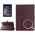 For iPad Air 2 Brown Honeycomb Texture Leather Case with Holder