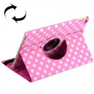 For iPad Air 2 Magenta 360° Rotation Dot Pattern Leather Case with 3 Gears Holder
