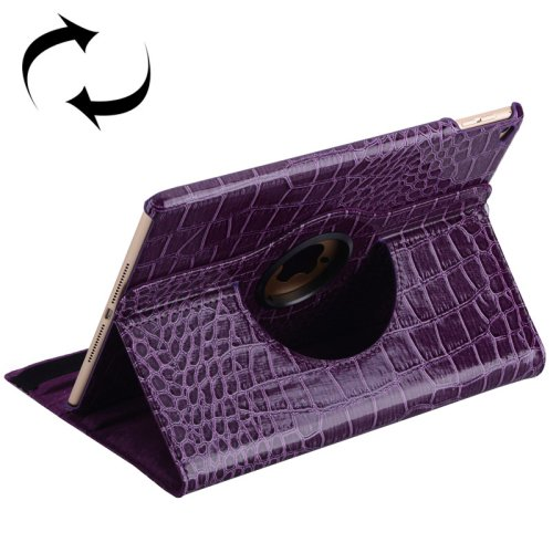 For iPad Air 2 Purple 360° Rotation Crocodile texture Leather Case with 3 Gears Holder