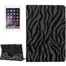 For iPad Air 2 Black 360° Rotation Zebra Pattern Leather Case with 3 Gears Holder