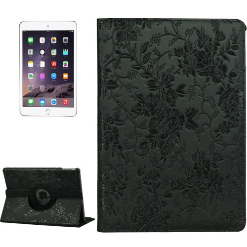 For iPad Air 2 Black 360° Rotation Grape Pattern Leather Case with 3 Gears Holder