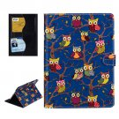 For iPad Air 2 / iPad 6 Owls Pattern Blue Cross Smart Cover Leather Case with Card Slots & Holder