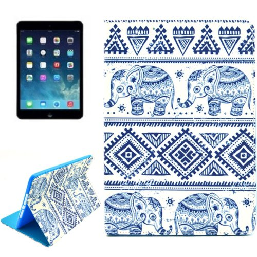 For iPad Air 2 / iPad 6 Elephant Pattern Smart Cover Leather Case with Holder & Card Slots