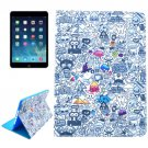 For iPad Air 2 / iPad 6 Graffiti Pattern Smart Cover Leather Case with Holder & Card Slots