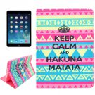 For iPad Air 2 / iPad 6 HAKUNA Pattern Smart Cover Leather Case with Holder & Card Slots