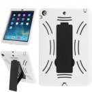 For iPad Air White Silicone + Hard Plastic Combination Case with Collapsible Holder