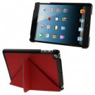 For iPad Mini 1/2/3 Red BELK Italian Style 3-fold Coss Texture Smart Cover
