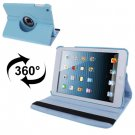 For iPad Mini 1/2/3 Baby Blue 360° Rotatable Litchi Texture Leather Case with Holder