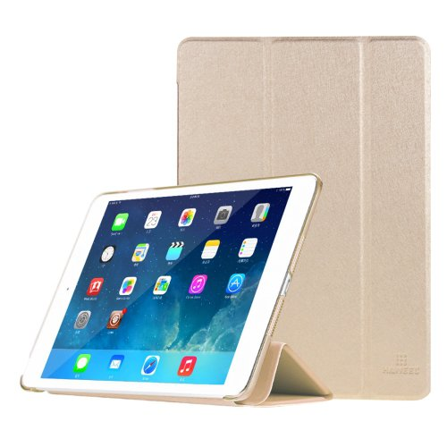 For iPad Mini 1/2/3 Gold HAWEEL 3-folding Smart Case Clear Back Cover with Holder