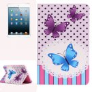 For iPad Mini 1/2/3 Butterflies Pattern Horizontal Flip Leather Case with Holder