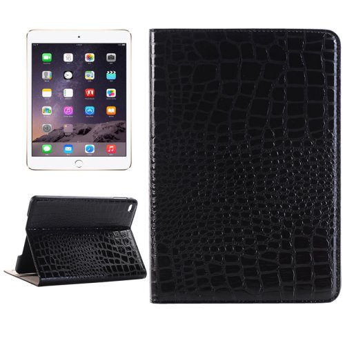 For iPad Mini 4 Black Crocodile Smart Cover Leather Case with Holder, Card Slots & Wallet