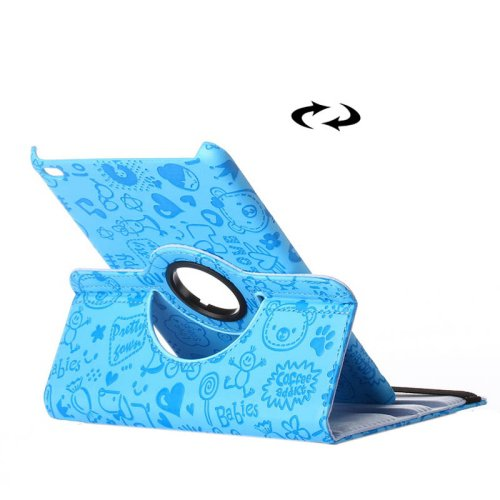 For iPad Mini 4 Blue Magic Girl Pattern 360° Rotating Smart Leather Case with Holder