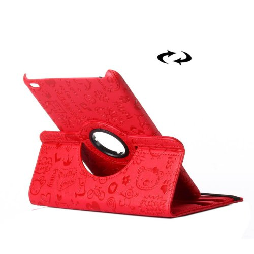 For iPad Mini 4 Red Magic Girl Pattern 360° Rotating Smart Leather Case with Holder