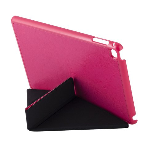 For iPad Mini 4 Magenta Transformers Style Crazy Horse Smart Cover Leather Case with Holder