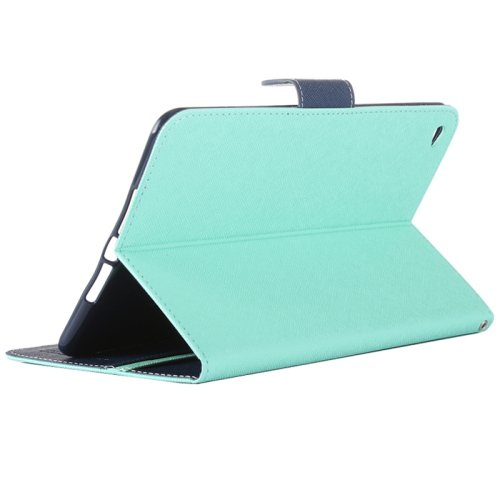 For iPad Mini 4 Turquoise Cross Shockproof Leather Case with Holder, Card Slots & Wallet