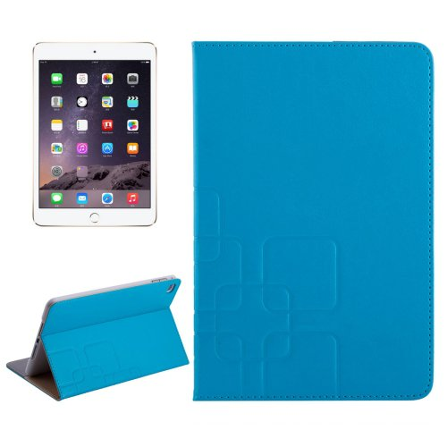 For iPad Mini 4 Blue Crazy Horse and Lattice Texture Leather Case with Holder and Card Slots