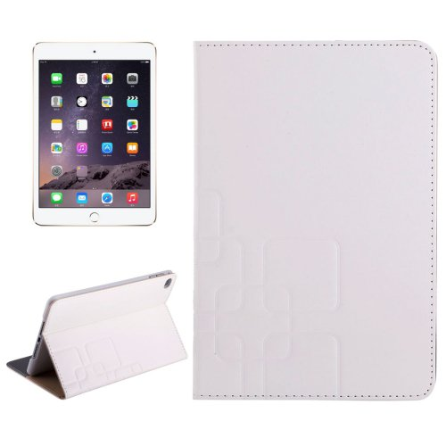 For iPad Mini 4 White  Crazy Horse and Lattice Texture Leather Case with Holder and Card Slots