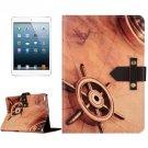 For iPad Mini 4 Retro Rudder Leather Case with Holder & Genuine Leather Belt Fastener