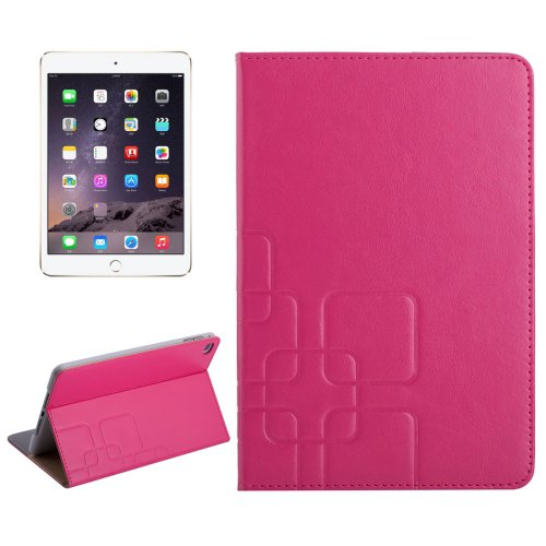 For iPad Mini 4 Magenta Crazy Horse and Lattice Texture Leather Case with Holder and Card Slots