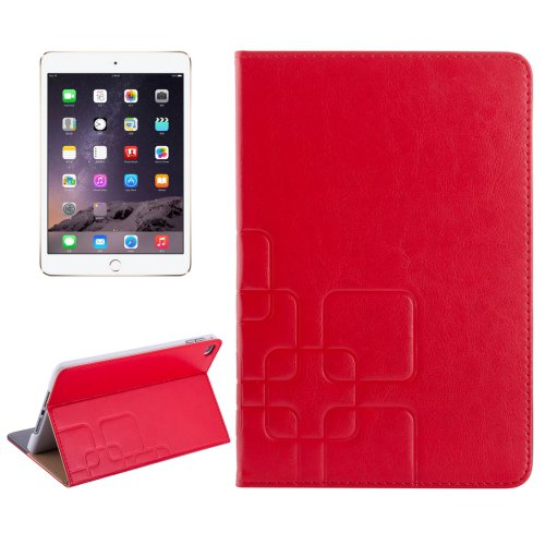 For iPad Mini 4 Red Crazy Horse and Lattice Texture Leather Case with Holder and Card Slots