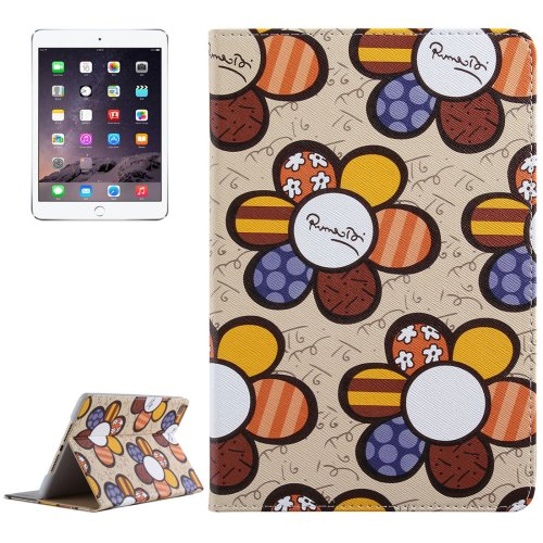 For iPad Mini 4 Khaki Sunflower Pattern PC + PU Leather Case with Holder & Card Slots