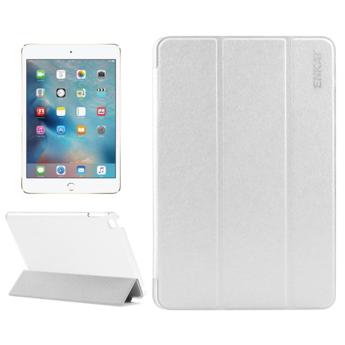 For iPad Mini 4 ENKAY White Silk Texture Smart Cover Leather Case with 3 Fold Holder