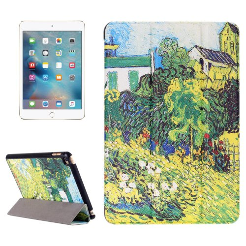 For iPad Mini 4 Countryside Pattern Karst Smart Cover Leather Case with 3 Fold Holder