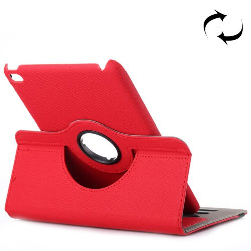 For iPad Mini 4 Red Cloth 360° Rotating Smart Cover Leather Case with Holder & Card Slots
