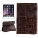 For iPad Mini 4 Brown Crocodile Smart Cover Leather Case with Holder, Card Slots & Wallet