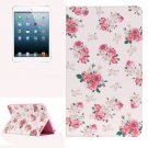 For iPad Mini 1/2/3 Painting Rose Pattern Horizontal Flip Leather Case with Holder