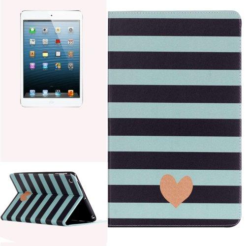 For iPad Mini 1/2/3 Stripe Pattern Horizontal Flip Leather Case with Holder