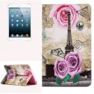 For iPad Mini 1/2/3 Rose Tower Pattern Horizontal Flip Leather Case with Holder