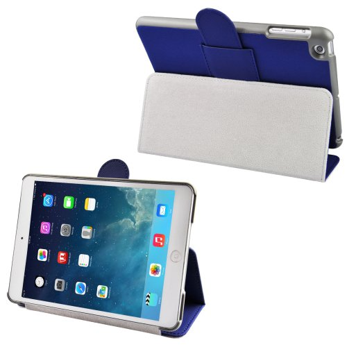 For iPad Mini 1/2/3 Blue Cloth Leather Case with Holder & Sleep / Wake up Function