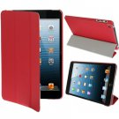 For iPad Mini 1/2/3 Red 3-fold Smart Cover PU Leather Case
